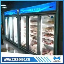 China Commercial refrigerator plug in and remote upright multi door frozen meat display freezer on sale