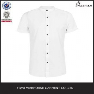 China White Stand Collar Short Sleeve Smart Shirt on sale