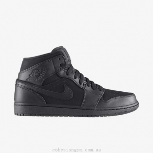 China Men's Shoes 554724-011 Air Jordan 1 Mid Black/Black/Black on sale