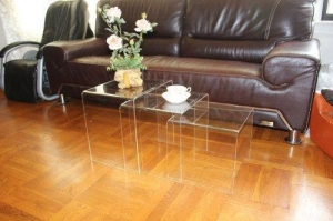 China DisplayGifts AC-TB1 Clear Acrylic Nesting Table Coffee End Table 3pc Lucite Side Table Set on sale