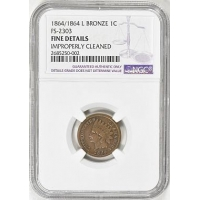 Small Cents 1864/1864 L Indian Cent Bronze FS-2303 NGC Fine Details