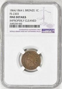 China Small Cents 1864/1864 L Indian Cent Bronze FS-2303 NGC Fine Details on sale