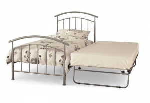 China Serene Neptune 3FT Single Pearl Silver Metal Guest Bed on sale