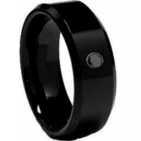Diamond / Cubic Zirconia !COI Black Tungsten Carbide Wedding Band Ring - TG2062