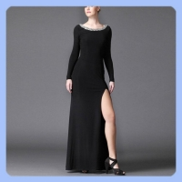 backless side slit beaded neck long dress