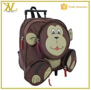 China Cute funny monkey face kids school backpack trolley, kids travel trolley bag on sale