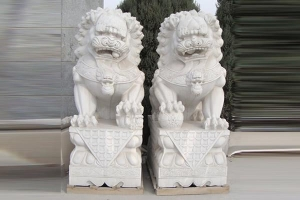China Marble double lion outdoor animal sculpture with high quality on sale