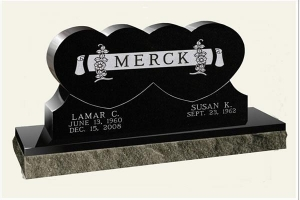 China Headstones And Monuments Double heart China Black American Monument on sale