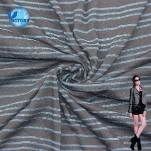 China Indigo Cotton Stripe Yarn Dyed Single Jersey Knitted Wholesale Denim Jacket Fabric Price on sale