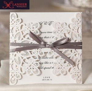 China Laser cut wedding invitations card customized luxury lace marriage invitation kit party on sale