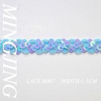 Sequin lace LACE-B067 Reflective blue sequined lace