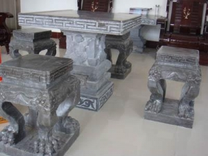 China Stone-bronze tripod carpenter Stone table and stone bench JX-020 on sale