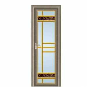 China Aluminum door Similar wooden frame frosted glass elegant swing out bathroom door on sale