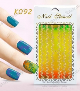China Hollow vinyl reusable Nail Art Stencil Sticker / DIY Nails Decor Template Guides Tip on sale
