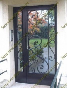 China residential steel entry doors,entry doors wrought,wrought iron doors,cheap wrought iron door on sale