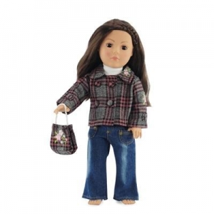 China 18-inch Doll Clothes - Jeans, Plaid Jacket, Purse, and White Shirt - fits American Girl  Dolls on sale