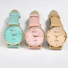 China 2015 Slim Quartz Casual Wristwatch Business Geneva Leather Analog Quartz Watch Men's Relogio on sale