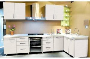 China Kitchen Cabinet Luxury white design acrylic kitchen cabinet for European market on sale