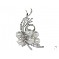 Estate Edwardian Pearls Floral Brooch .70ctw in 18K Online Sale