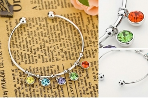 China Colorful CZ Crystal Bangle Bracelet Item: B0013 on sale