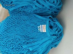 China Eco- Friendly bag Blue colour Cotton mesh bag manufacturer Product No.:RDCNSB6619 on sale