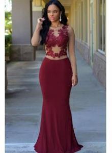 China Long Sleeve Mermaid Evening Dress 2016 Sheer Tulle Lace Prom DressesItem Code: CE0064 on sale