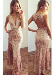 China 2016 Geometric Sequin Long Party Dress V-neck Open Back Evening Gowns with SplitItem Code: CE0055 on sale