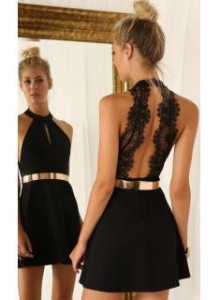 China Sexy Mini Party Dress Cheap 2016 Halter Open Back Cocktail Dress with Gold BeltItem Code: BA2991 on sale
