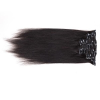 China Clip in Hair Extension 20 inches 1b Clip in Human Hair Extensions For Black Women on sale