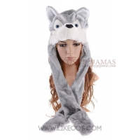 Animal Hats Husky Dog Animal Hat with Mittens