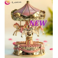 3 horse rotating music box with led light