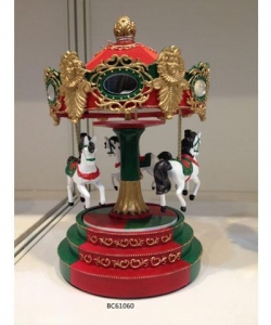 China Polyresin Christmas musix box movements for childrens carousel music box on sale