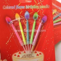 China 5pcs Packaging Colored Flame Birthday Cake Candle on sale