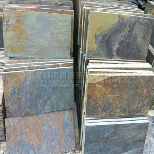 China Slate slabs Rusty stacked slate tiles on sale