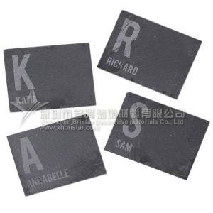 China Slate coaster/slate placemats black slate dinner coaster with guest name on sale