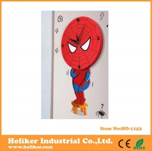 China spider man shape wall sticker 3d clock for kids room decor on sale