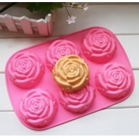 China Top quality eco-friendly Rose Shape Silicone Cake Mould on sale