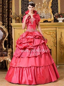 China Ball Gown Beaded Sweetheart Corset Taffeta Long Quinceanera Dress on sale
