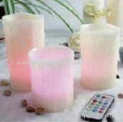 China Set of 3 Multi colour LED candles with remote and timer on sale