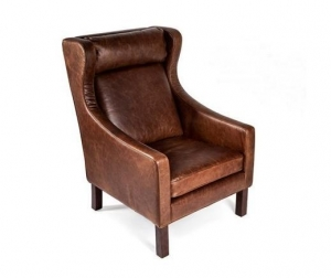 China Vintage/waxy leather furniture Borge Mogensen Armchair in vintage leather on sale