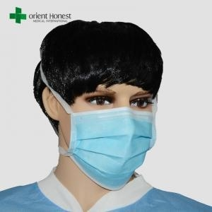 China Wholesale 3 ply tie-on face mask , hospital hygiene face mask , dentist mouth cover mask maker on sale