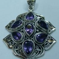China Artisan crafted sterling, gem stone pendant on sale