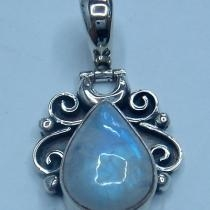 China Artisan crafted sterling, Rainbow moon stone Pendant with dazzling hinge on sale