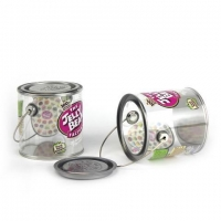China Jelly Belly clear PET tin can with handle chocolate packaging on sale
