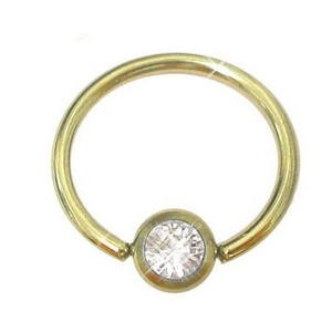 China Gold Micro Gem Ball Closure Ring on sale