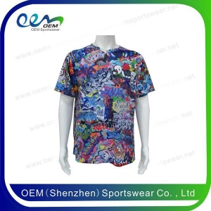 China Fashion clothing Cut and sew sublimation t shirts on sale