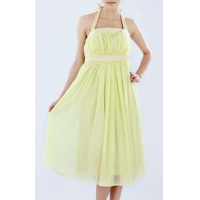 China Light Yellow Halter Shirring Through Cocktail Dress on sale
