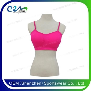 China Cheerleading uniform hot pink lace back sports bra on sale