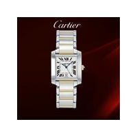 Cartier Mens Tank Francaise Stainless Steel and 18K Gold Watch #W51007Q4