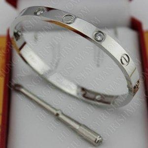 China High Qualtiy Cartier Love Bracelet Replica White Gold With Diamonds on sale